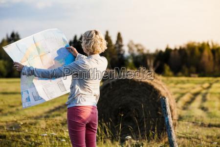 lost woman on a rural scene
