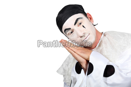 man with pierrot costume on white