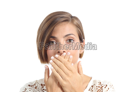 woman covering her mouth because bad