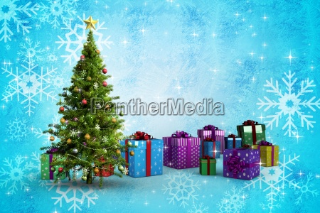 composite image of christmas tree and