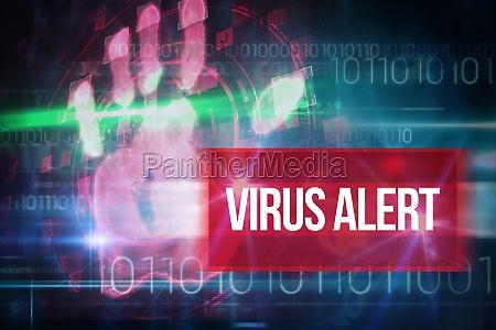 virus alert against blue technology design