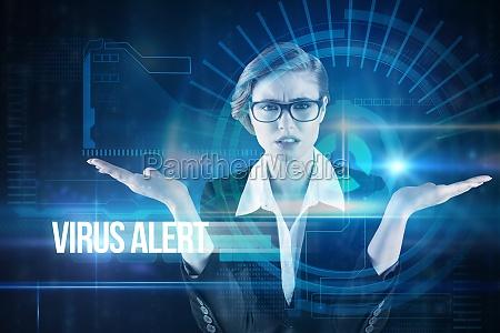virus alert against blue technology interface