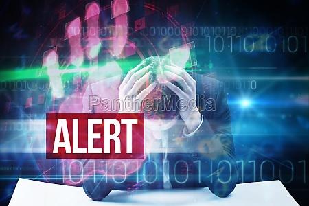 alert against red technology hand print