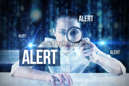 alert against lines of blue blurred