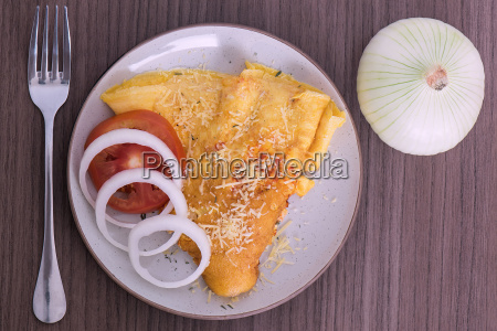 dish of omelette with parmesan cheese