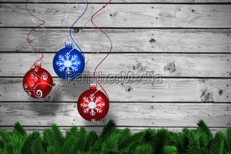 composite image of digital hanging christmas