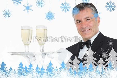 composite image of waiter holding tray