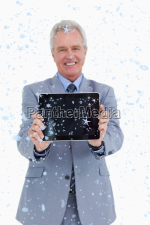 composite image of smiling mature tradesman