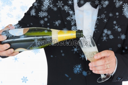 composite image of welldressed man pouring