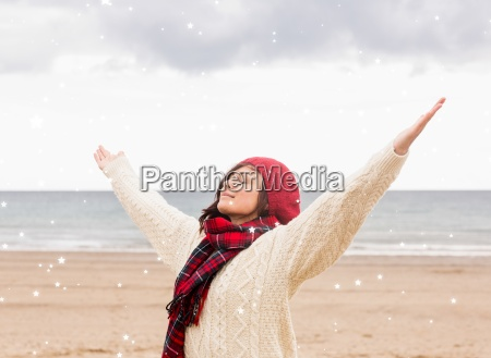 composite image of woman in warm
