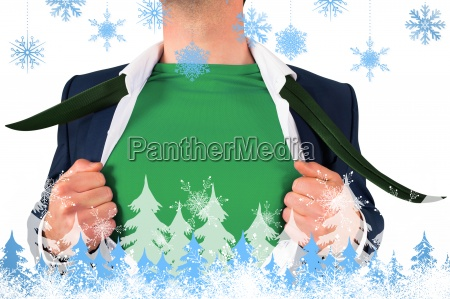 composite image of businessman opening shirt