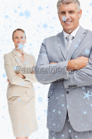composite image of cheerful business people