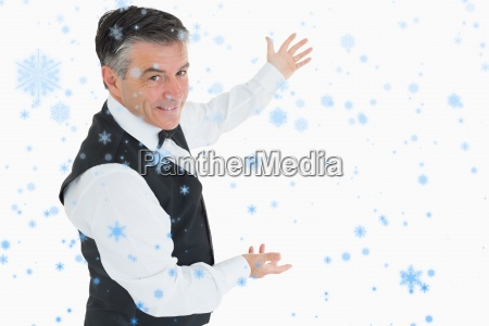 composite image of welldressed man showing