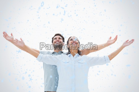 composite image of cute couple standing