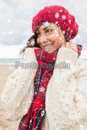 composite image of cute smiling woman
