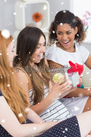 composite image of cheerful young women