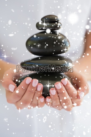 composite image of beauty therapist holding