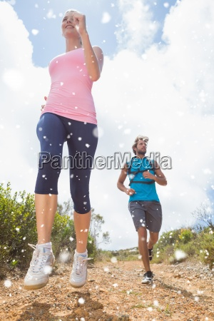 composite image of fit attractive couple