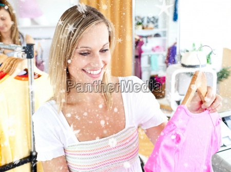 composite image of bright woman selecting