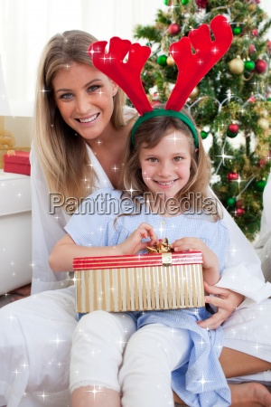 composite image of smiling mother and
