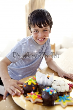 composite image of happy boy eating