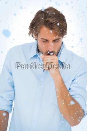 composite image of tanned man coughing