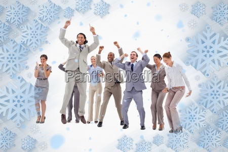 very enthusiast business people jumping and