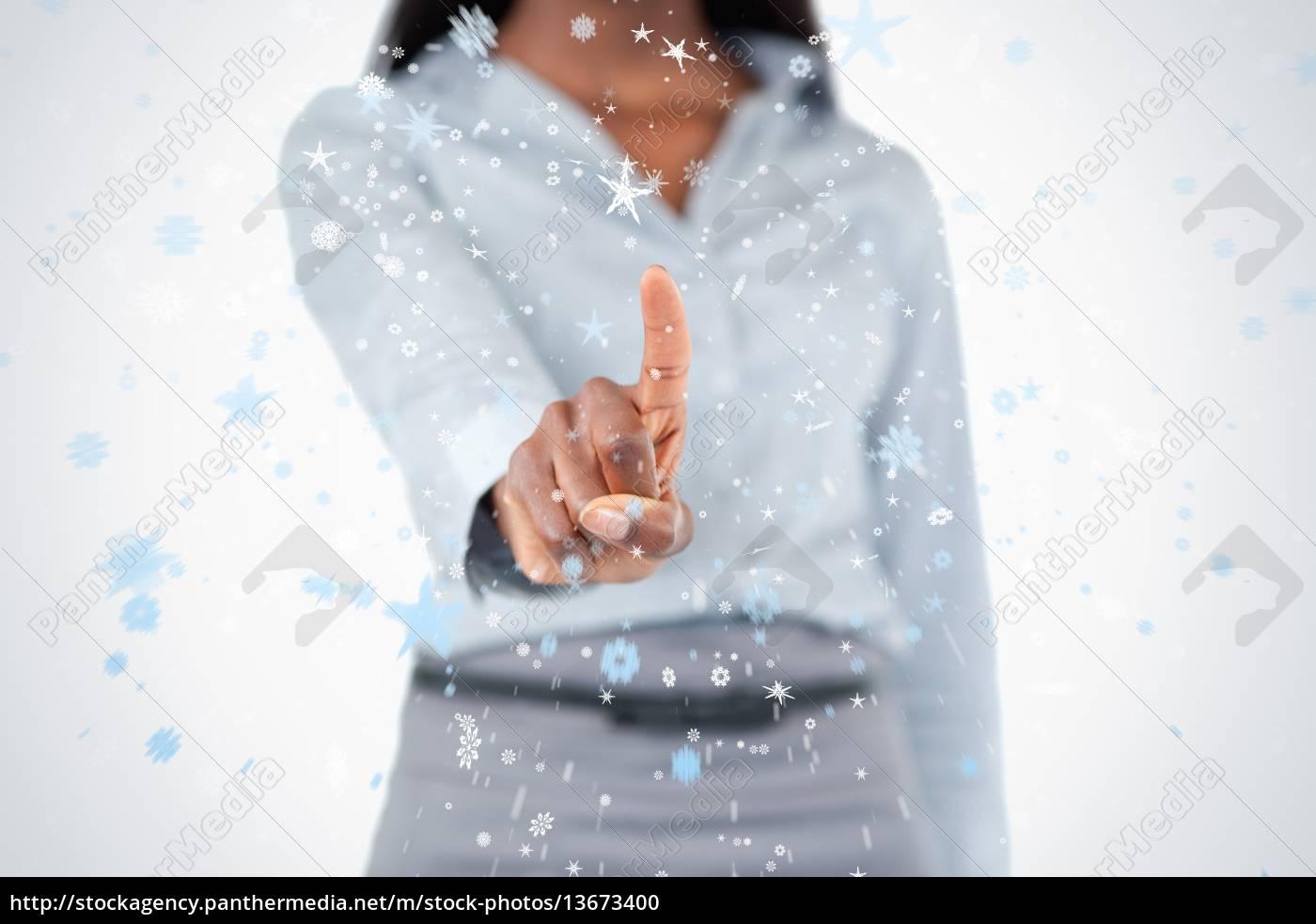feminine, finger, pressing, an, invisible, key - 13673400