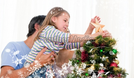composite image of little girl placing
