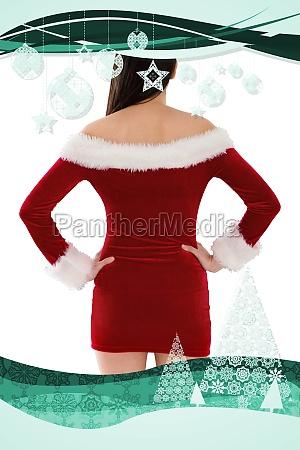 composite image of santa girl standing