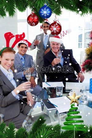 manager and his team toasting with