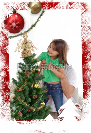 composite image of attentive father holding