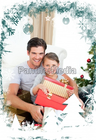 happy little girl with her father