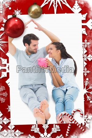 composite image of cute couple considering