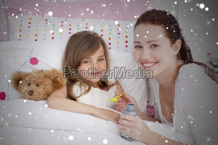 composite image of sick little girl