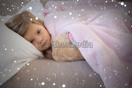 composite image of young girl resting