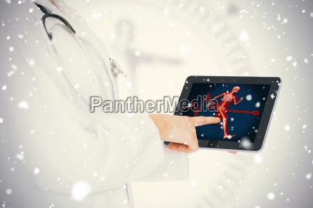 doctor showing her tablet with body