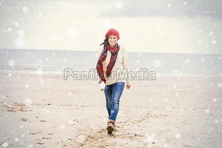pretty woman in stylish warm wear