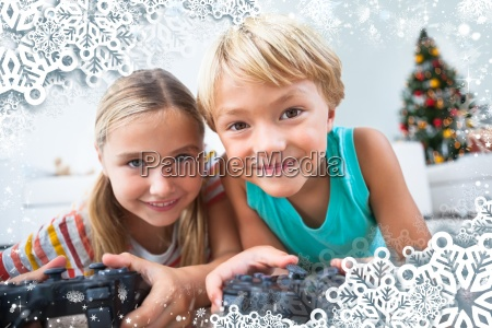 composite image of happy siblings playing