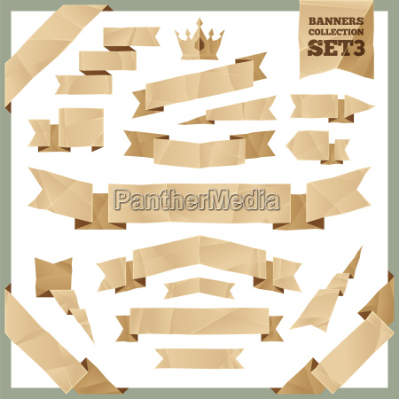 crumpled paper ribbons banners collection set3