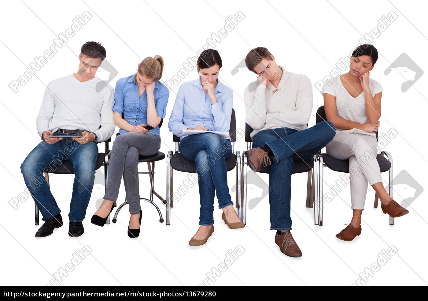 group, of, people, sleeping, on, chair - 13679280