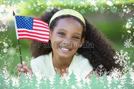 young girl celebrating independence day in