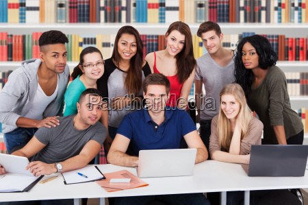university, students, using, laptop, together - 13681084