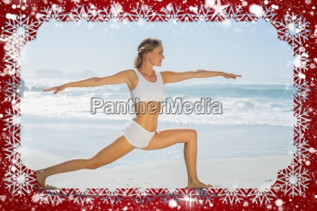 gorgeous blonde in warrior pose by