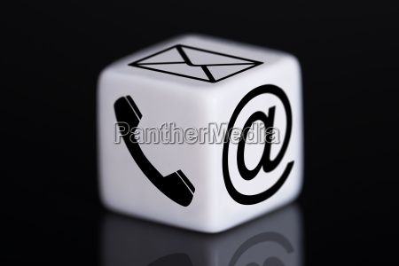 white dice with mail and phone