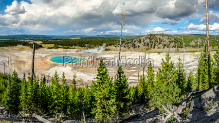 panoramic view of grand prismatic spring