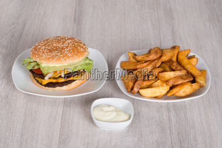 delicious, burger, and, fried, potatoes - 13686998