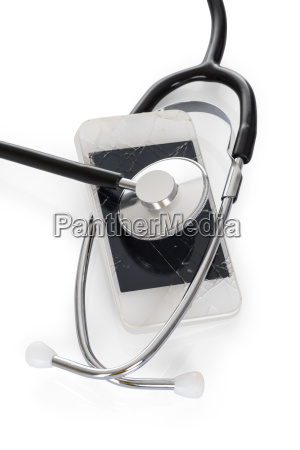 stethoscope with cracked mobile screen