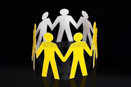 yellow, paper, team, representing, unity - 13689368