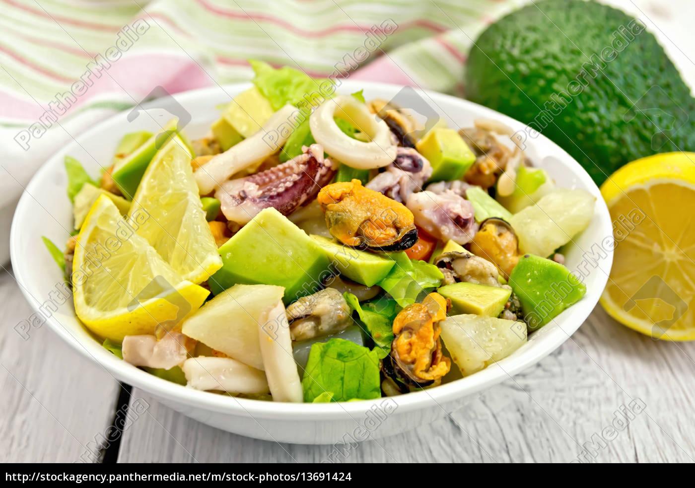 salad, seafood, and, lemon, on, white - 13691424